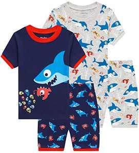 Little Boys Shark Pajamas Toddler Kids 4 PCs Summer Pyjamas Children Cotton Clothes 7t