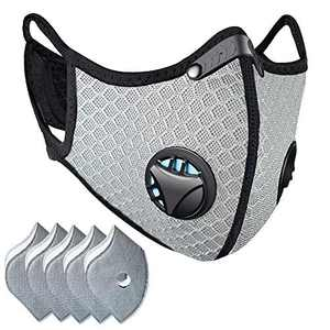 Besungo Reusable Dust Mask Sports Face Mask with Filter, Men's and Women's Universal Masks, Suitable for Woodworking, Outdoor Activities (Gray, 1 Mask + 5 Filters Included)