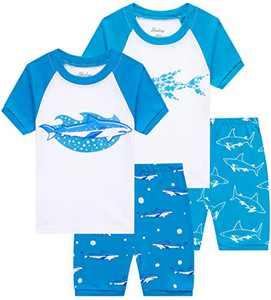 Children Pajamas little Boys Shark Pajamas Summer Kids 4 PCs Clothes 7t