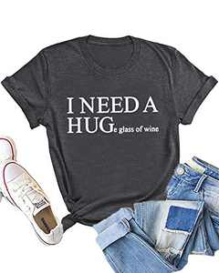 Dauocie Womens I Need A Huge Glass of Wine Letter Print Short Sleeve T Shirt Casual Novelty Humor Graphic Tees Tops