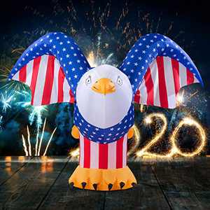 LOOHUU 6FT Tall Patriotic Independence Day 4th of July Inflatable American Bald Eagle Lighted Blow up Party Decoration for Outdoor Indoor Home Celebration Garden Yard Photo Prop