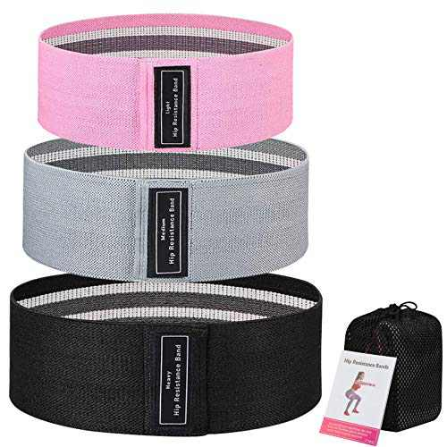 LUXSURE Resistance Bands for Legs and Butt, Non-Slip Workout Resistance Loop Bands,Exercise Bands Glute Bands for Women,Thick Elastic Fabric Fitness Bands for Home Gym, Pack of 3