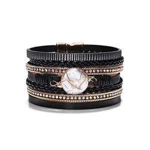 Fesciory Leopard Bracelet for Women Wrap Multi-Layer Leather Bracelet Magnetic Clasp Cuff Bangle Jewelry (Round Pearl(Black))
