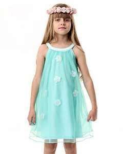 Girl Summer Tulle Dress Cotton Casual Halter Neck Sleeveless Tank Dress Outfit Flower Girl Cold Shoulder Beach Sundress Green Size 8