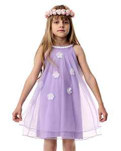 Girl Summer Casual Dress Cotton Tulle Halter Neck Sleeveless Tank Outfit Beach Sundress Purple 4T
