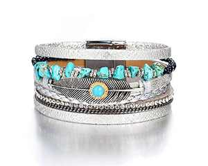 Fesciory Leopard Bracelet for Women Wrap Multi-Layer Leather Bracelet Magnetic Clasp Cuff Bangle Jewelry (Feather)