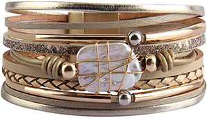 Fesciory Leopard Bracelet for Women Wrap Multi-Layer Leather Bracelet Magnetic Clasp Cuff Bangle Jewelry(Gold Leather(Pearl))