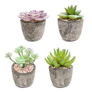 Diamerd Succulents Artificial in Ceramics Pots, Set of 4 Mini Create Realistic Fake Cactus Aloe Plants Decor and Fake Succulent Planters for Wedding Decorations (Pulp Pot A)