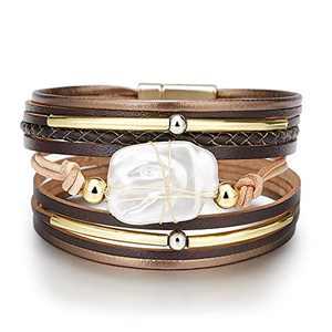 Fesciory Leather Wrap Bracelet for Women, Leopard Multi-Layer Magnetic Buckle Cuff Bracelet Jewelry