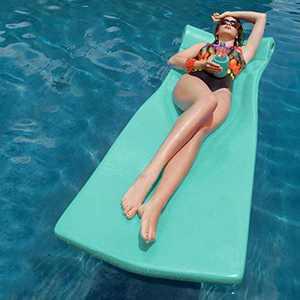 Pool Mate XX-Large Foam Mattress Swimming Pool Float, White with Bonus Kool Kan, Mint