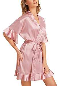 Banamic Women's Summer Ruffle Hem Belted Satin Kimono Bridesmaids Robe Sleepwear Robes