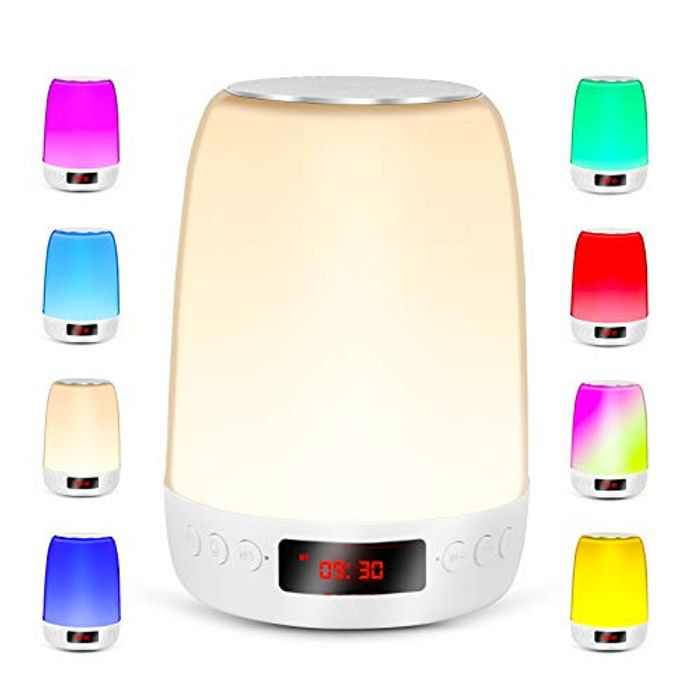 REAWUL Touch Bedside Lamp with Alarm Clock, Night Light with Bluetooth Speaker, 3-Level Warm Light & LED Colourful Touch Lamps for Bedrooms, Gift for Women Men Teens Kids