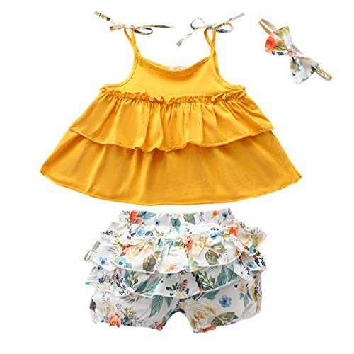 3PCS Newborn Baby Girl Clothes Short Sleeve Ruffled Romper Top Floral Shorts Pants Headband Outfit Sets (C-Yellow Halter Ruffled Top Shorts Set, 1-2T)
