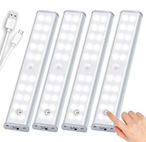 LED Closet Light 20-LED New Motion Sensor Closet Lights Rechargeable Under Cabinet Light Wireless Stick-on Anywhere Night Light Bar for Cupboard, Hallway, Stairs, Kitchen, Bedroom (4 Pack)