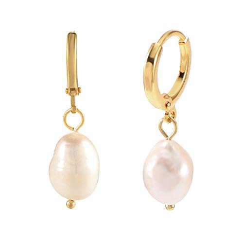 Huggie Hoop Earrings with Charms Pearl Dangle Earrings 13mm