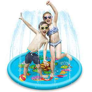 Kids Water Splash Play Mat,Inflatable Sprinkler Water Fountain Play Pad,Outdoor Garden Wading Swimming Pool