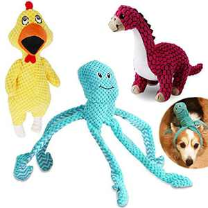VIEWLON Squeaky Dog Toys, 3 Pack Dog Plush Toy Set, Durable Puppy Chew Toys for Teeth Cleaning, Interactive Training Toys for Small Medium Dogs - Scream Chicken, Dinosaur and Octopus.
