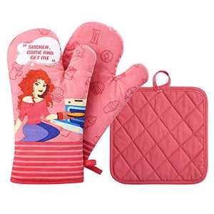 Glotoch 2pcs Oven Mitts and Potholders,BBQ Gloves-Oven Mitts and Pot Holders Heat Resistant with Recycled Cotton Infill Cooking Gloves for Cooking Baking Grilling (Pink)