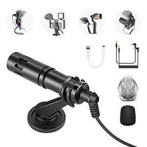 Neewer CM14 Universal Video Microphone with Headphone Jack Adapter Includes Shock Mount, Furry Wind Shield, Foam Cover, Compatible with Camera, iPhone11/11 Pro/11 Pro Max/XS/XR, Samsung Galaxy Huawei