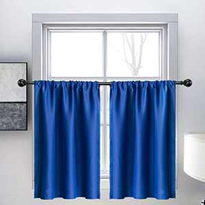 WONTEX Kitchen Curtains Tiers, 30 x 36 inch Long, Royal Blue, Set of 2 – Short Thermal Blackout Curtains for Small Window, Room Darkening Rod Pocket Cafe Curtain Panels