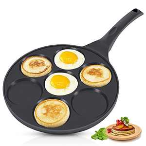 KUTIME Pancake Pan 7-Cup Mold Blini Pan Silver Dollar Breakfast Pan Non-stick Breakfast Griddle Mini Pancake Maker Fried Egg Cooker Black