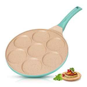 KUTIME Pancake Pan 7-Cup Mold Blini Pan Silver Dollar Breakfast Pan Non-stick Breakfast Griddle Mini Pancake Maker Fried Egg Cooker Blue
