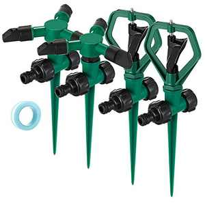 Number-one Lawn Sprinkler, 2pcs 360 Degree Automatically Rotating Three-Armed Sprinklers and 2 pcs One-Armed Sprinklers Adjustable Rotating Irrigation System for Home Gardening