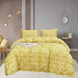 Wellboo Yellow Floral Comforter Sets Women Boho Bedding Sets Flower Queen Branches Bedding Set Full Cotton Dandelion Printed Girls Quilt Teens Adult Yellow Comforter Warm Blanket Soft Durable 3 PCS