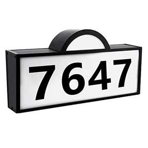 Rottogoon Solar Powered Address Numbers Signs, White/Warm Light Illuminated House Numbers Plaque, IP65 Waterproof LED Lighted Outdoor Solar Address Sign for Home Yard Garden Street Mail Box