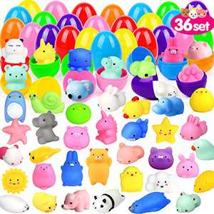 ORWINE 36Pcs Easter Eggs + 36Pcs Mochi Squishy Toy Easter Basket Stuffers Easter Egg Fillers Mini Squishies Party Favors for Kids Animal Squishy Easter Egg Hunt Party Supplies Easter Gift Treats Bunny