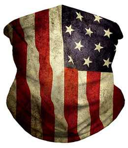 Venhoo Bandana Face Mask American Flag Tube Cooling Neck Gaiter Headwear Face Scarf for Fishing Running