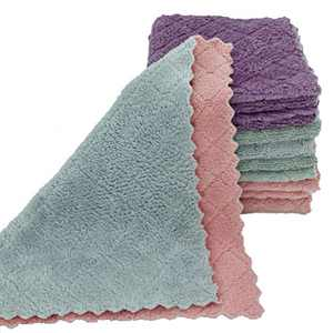 "10 Pack 12""x12"" Microfiber Reusable Fast Drying Dishcloth Multipurpose Super Absorbent Household Premium Dishcloth Kitchen Towel and Rag Set for Cleaning, Drying, Detailing."