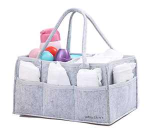 wawabox Diaper Caddy Organizer, Baby Gifts Diaper Bag, Hemming Design Storage Caddy for Newborn Kids, Upgrade Large Size Baby Felt Nappy Caddy Tote(Gray)
