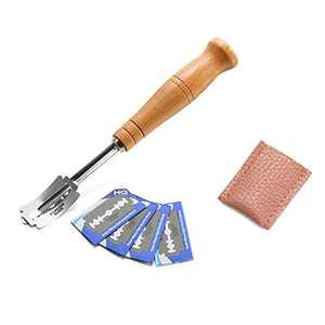 lzndeal Bread Lame Tool, Bread Bakers Cutter Slashing Tool, Bakers Edge Scoring Knife Slashing Tool Dough Making Razor Wood Handle Bakeware ough Scorer with 5 Bread Razor Blades and Leather Cover