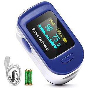 HOMIEE Pulse Oximeter, Blood Oxygen Saturation Monitor Spo2 Fingertip Pulse Oximeter with 4 Directions OLED Display, Batteries and Lanyard, Auto-Sleep Function for Adult, Child and Family