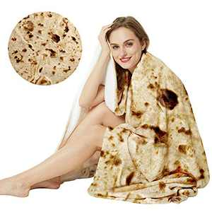 LetsFunny Burrito Tortilla Wrap Blanket, Burrito Wrap Novelty Blanket Tortilla Towel for Adults/Kids, Giant Round Beach Towel/Throw Blanket/Picnic Blanket (47in)