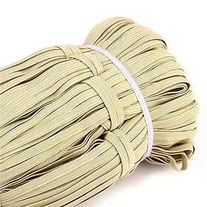 Heflashor 33 Yards Flat Elastic Band, 1/4 inch-6mm Elastic String Cord Elastic Bands Rope, Braided Stretch Strap Cord Roll for Sewing and Crafting, Braided Elastic Cord Elastic String, 34 Yards-30m