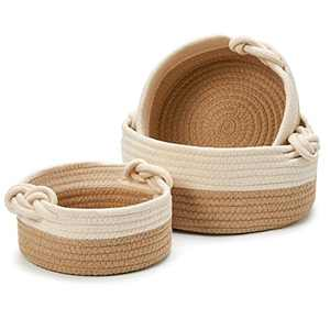 EZOWare Set Of 3 Decorative Soft Knit Baskets Bins Storage Organizer, Perfect for Storing Small Household Items - Beige and Brown