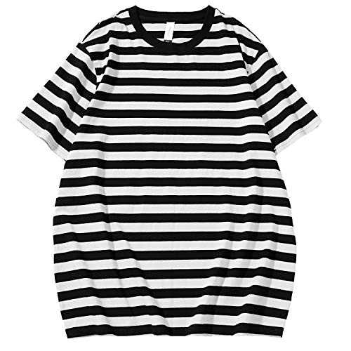 Beauhuty Jakleekul Essential Men's Stripes Shirts Casual Cotton Spandex Crewneck Short Sleeve T-Shirt (White & Black Short, M)