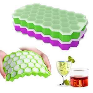 Jandays Ice Cube Trays, silicone Ice Cube Trays with lid,Easy-Release & Flexible Ice Cube Molds,74-Ice Cube for Whiskey, Cocktail,Stackable Ice Trays with Covers (2pack)