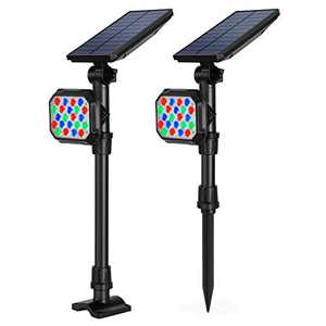 Litake 22LED Solar Lights Outdoor, 2-in-1 Adjustable Landscape Spotlights, RGB Color Changing Christmas Decorative Waterproof Wall Light, Auto On/Off for Yard Pathway Walkway Garden(7 Color)