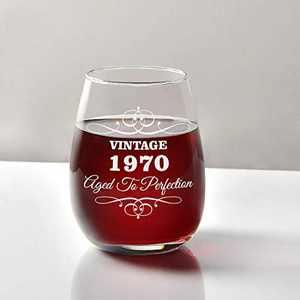 1970 50th Birthday Wine Glass, 50th Stemless Wine Glass 15Oz for Women, Men, Friends, Wine Lover, Him, Her