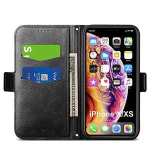 Aunote iPhone Xs Case Wallet, iPhone X Flip Case with Card Slot, Magnetic Closure and Kickstand, Soft TPU+Slim PU Leather Folio Phone Cover Full Protection for Apple iPhone X/XS/10. Black