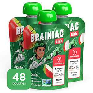 Brainiac Kids Applesauce Pouches, Apple, 48 Count, 3.2 oz. – Unsweetened Applesauce with Immune Boosting Vitamin C, Omega-3s and Choline – Healthy Snacks for Kids for School, On-the-Go