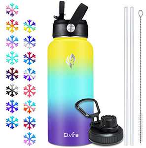 Elvira 32oz Vacuum Insulated Stainless Steel Water Bottle with Straw & Spout Lids, Double Wall Sweat-Proof BPA Free to Keep Beverages Cold for 24Hrs or Hot for 12Hrs-Yellow/Green/Purple Gradient