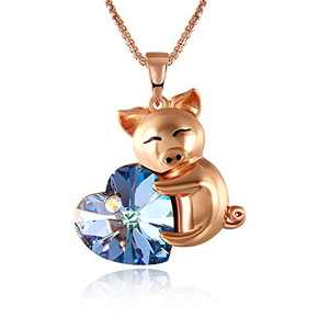 lovely Piggy Pendant Necklace Birthday Gifts Jewelry for Women Girls Kids, Cute Animal Daughter Loved Child Necklace 18+2.4 inch Chain