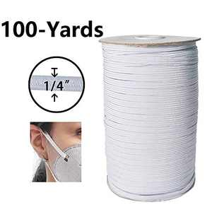 "White Elastic Cord 1/4"" Width 100-Yards Length Elastic Bands, Heavy Stretch Knit Elastic Spool for Sewing DIY Sewing Crafts"
