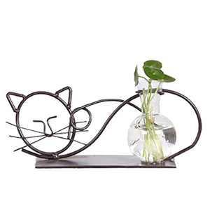 Garneck Iron Flower Pot Glass Planter Water Planting Vases Creative Desktop Planter for Hyacinth Hydroponics Aquatic Plants Home Garden Decor