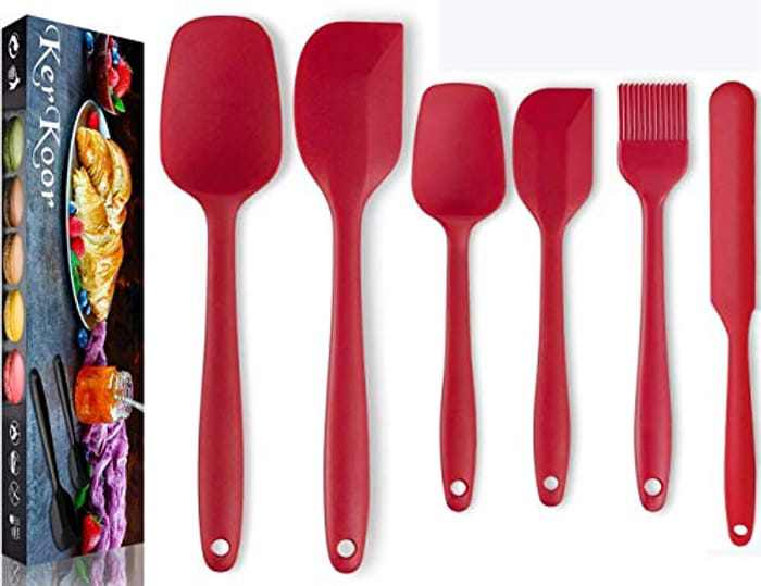 6 pcs Silicone Spatula Set Heat Resistant Seamless Rubber Spatulas Baking-Kitchen Utensil Tools BPA Free & Food Grade 304 Stainless Steel Core Spatulas for Cooking Baking and Mixing