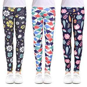 slaixiu 3-Pack Printing Flower Girl Leggings Kids Classic Pants 4-13Y(XQIT_6-7,70#)